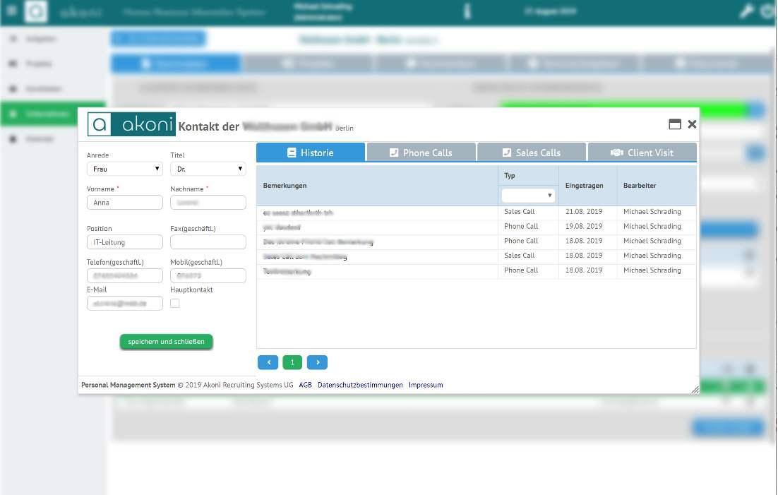 Kommunikationsverlauf mit der akoni e-Recruiting Software für Recruiter