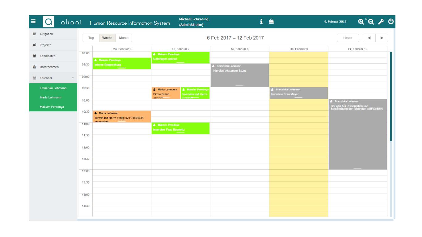 Terminkalender für alle Mitarbeiter in der akoni e-Recruiting Software für Recruiter