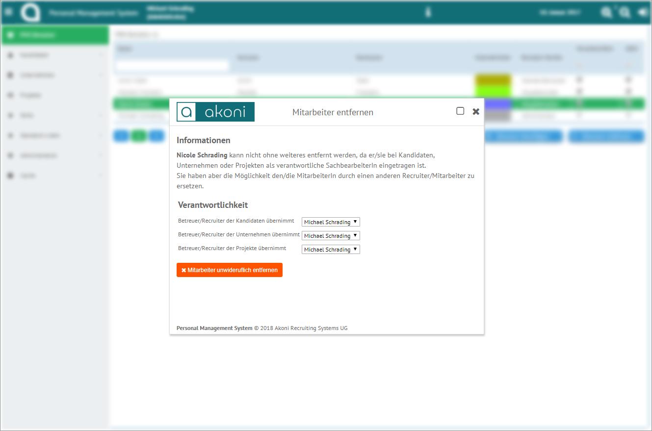 Flexible Mitarbeiter Verwaltung mit der akoni e-Recruiting Software für Recruiter